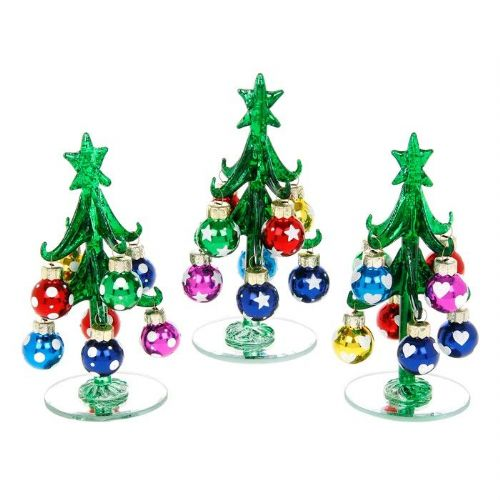 Small Green Glass Christmas Trees with Multi Coloured Baubles